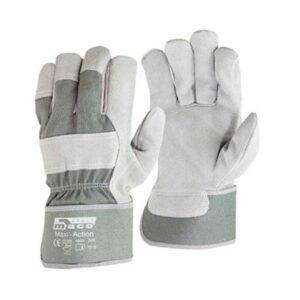 Γάντια Εργατών Δερματοπάνινα Άσπρα No10.5 Maxi-Soft Maco